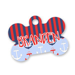 Classic Anchor & Stripes Bone Shaped Dog ID Tag (Personalized)