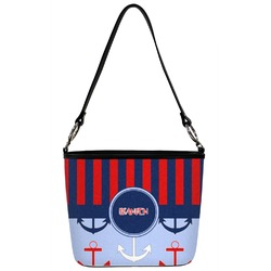 Classic Anchor & Stripes Bucket Bag w/ Genuine Leather Trim (Personalized)