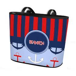 Classic Anchor & Stripes Bucket Tote w/ Genuine Leather Trim (Personalized)