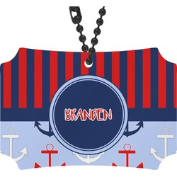 Classic Anchor & Stripes Rear View Mirror Ornament (Personalized)