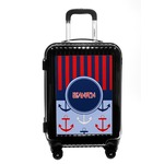 Classic Anchor & Stripes Carry On Hard Shell Suitcase (Personalized)