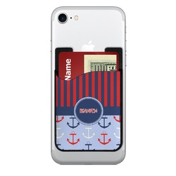 Classic Anchor & Stripes Cell Phone Credit Card Holder (Personalized)