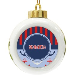 Classic Anchor & Stripes Ceramic Ball Ornament (Personalized)