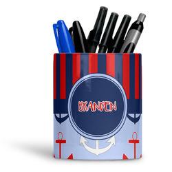 Classic Anchor & Stripes Ceramic Pen Holder