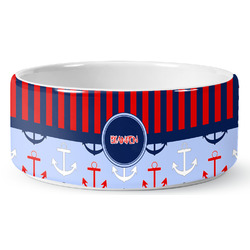Classic Anchor & Stripes Pet Bowl (Personalized)