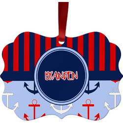 Classic Anchor & Stripes Ornament (Personalized)