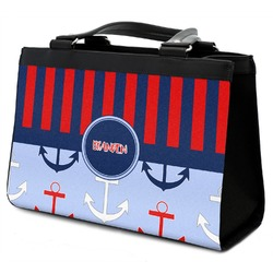 Classic Anchor & Stripes Classic Tote Purse w/ Leather Trim (Personalized)