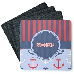 Classic Anchor & Stripes 4 Square Coasters - Rubber Backed (Personalized)