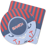 Classic Anchor & Stripes Rubber Backed Coaster (Personalized)