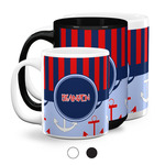 Classic Anchor & Stripes Coffee Mugs (Personalized)