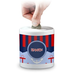 Classic Anchor & Stripes Coin Bank (Personalized)
