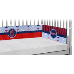 Classic Anchor & Stripes Crib Bumper Pads (Personalized)