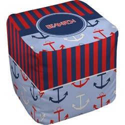 Classic Anchor & Stripes Cube Pouf Ottoman (Personalized)