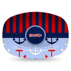 Classic Anchor & Stripes Plastic Platter - Microwave & Oven Safe Composite Polymer (Personalized)