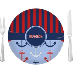 """Classic Anchor & Stripes 10"""" Glass Lunch / Dinner Plates - Single or Set (Personalized)"""