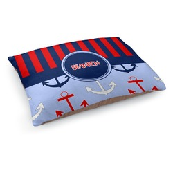 Classic Anchor & Stripes Dog Pillow Bed (Personalized)