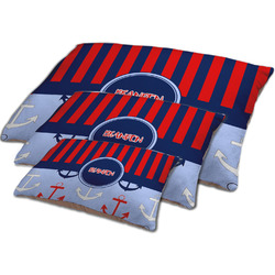 Classic Anchor & Stripes Dog Bed w/ Name or Text
