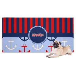 Classic Anchor & Stripes Dog Towel (Personalized)