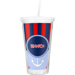 Classic Anchor & Stripes Double Wall Tumbler with Straw (Personalized)