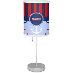 """Classic Anchor & Stripes 7"""" Drum Lamp with Shade Polyester (Personalized)"""
