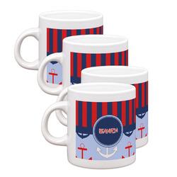 Classic Anchor & Stripes Espresso Mugs - Set of 4 (Personalized)