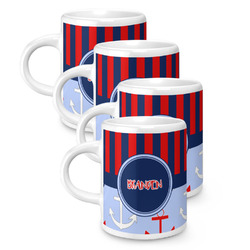 Classic Anchor & Stripes Espresso Mugs - Set of 4 (Personalized)