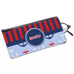 Classic Anchor & Stripes Genuine Leather Eyeglass Case (Personalized)