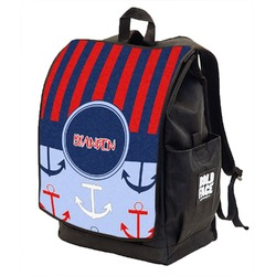 Classic Anchor & Stripes Backpack w/ Front Flap  (Personalized)