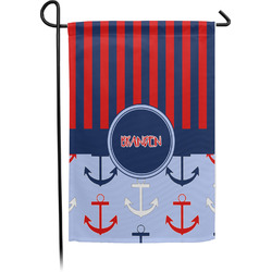 Classic Anchor & Stripes Garden Flags With Pole - Single or Double Sided (Personalized)