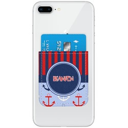 Classic Anchor & Stripes Genuine Leather Adhesive Phone Wallet (Personalized)