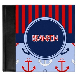 Classic Anchor & Stripes Genuine Leather Baby Memory Book (Personalized)