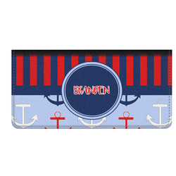 Classic Anchor & Stripes Genuine Leather Checkbook Cover (Personalized)