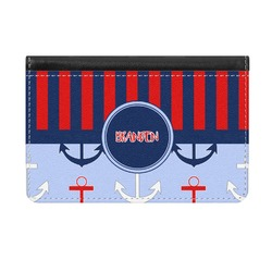 Classic Anchor & Stripes Genuine Leather ID & Card Wallet - Slim Style (Personalized)