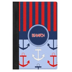 Classic Anchor & Stripes Genuine Leather Passport Cover (Personalized)