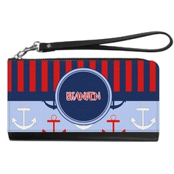 Classic Anchor & Stripes Genuine Leather Smartphone Wrist Wallet (Personalized)