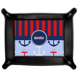 Classic Anchor & Stripes Genuine Leather Valet Tray (Personalized)