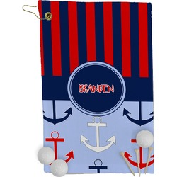 Classic Anchor & Stripes Golf Towel - Full Print (Personalized)
