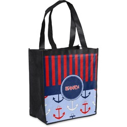 Classic Anchor & Stripes Grocery Bag (Personalized)
