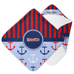 Classic Anchor & Stripes Hooded Baby Towel (Personalized)