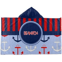 Classic Anchor & Stripes Kids Hooded Towel (Personalized)