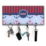 Classic Anchor & Stripes Key Hanger w/ 4 Hooks w/ Name or Text