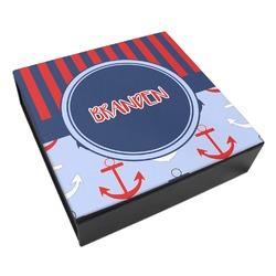 Classic Anchor & Stripes Leatherette Keepsake Box - 3 Sizes (Personalized)