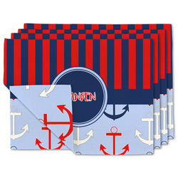 Classic Anchor & Stripes Linen Placemat w/ Name or Text