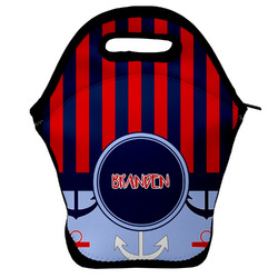 Classic Anchor & Stripes Lunch Bag w/ Name or Text