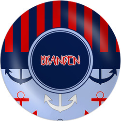"Classic Anchor & Stripes Melamine Plate - 8"" (Personalized)"