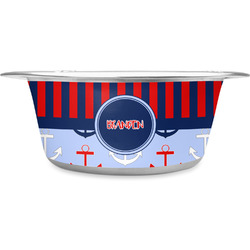 Classic Anchor & Stripes Stainless Steel Pet Bowl (Personalized)