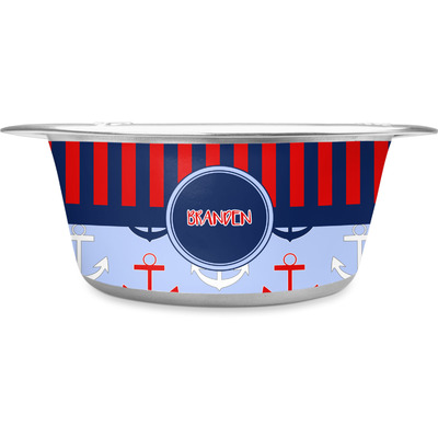 Classic Anchor & Stripes Stainless Steel Dog Bowl (Personalized)
