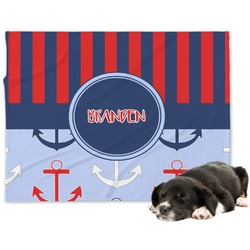 Classic Anchor & Stripes Minky Dog Blanket - Large  (Personalized)