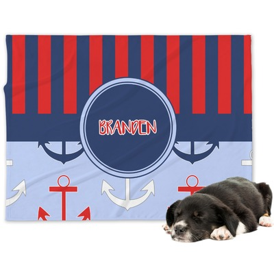 Classic Anchor & Stripes Dog Blanket (Personalized)