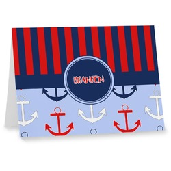 Classic Anchor & Stripes Notecards (Personalized)